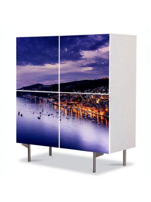 Comoda cu 4 Usi Art Work Urban Orase Coasta de Azur Franta, 84 x 84 cm