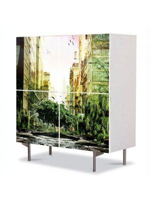 Comoda cu 4 Usi Art Work Urban Orase Orasul pierdut, 84 x 84 cm