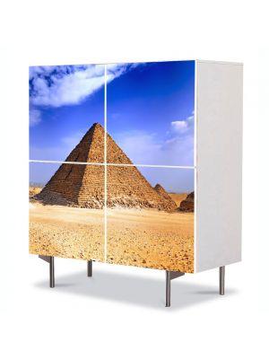 Comoda cu 4 Usi Art Work Urban Orase Pidamida Egipt, 84 x 84 cm