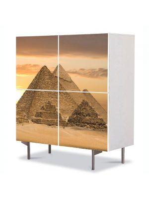 Comoda cu 4 Usi Art Work Urban Orase Cairo Piramide Egipt, 84 x 84 cm