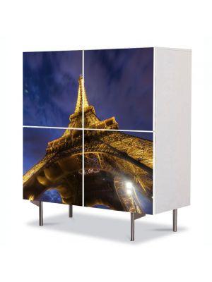 Comoda cu 4 Usi Art Work Urban Orase Turnul Eiffel de jos, 84 x 84 cm