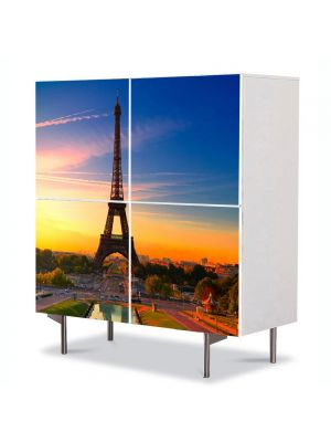 Comoda cu 4 Usi Art Work Urban Orase Turnul Eiffel Paris la Rasarit, 84 x 84 cm