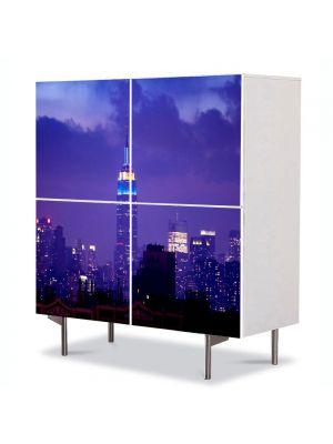Comoda cu 4 Usi Art Work Urban Orase Cladirea Empire State noaptea, 84 x 84 cm
