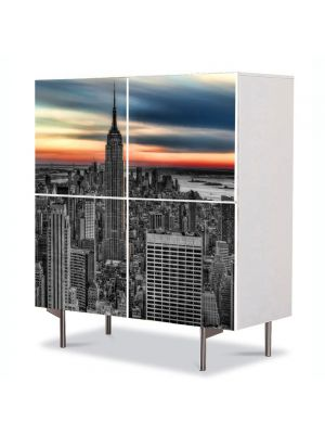 Comoda cu 4 Usi Art Work Urban Orase Empire State Building New York, 84 x 84 cm