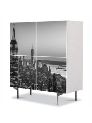 Comoda cu 4 Usi Art Work Urban Orase New York Alb Negru, 84 x 84 cm
