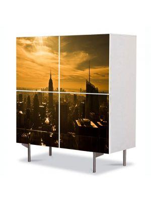 Comoda cu 4 Usi Art Work Urban Orase Panorama in New York la apus, 84 x 84 cm