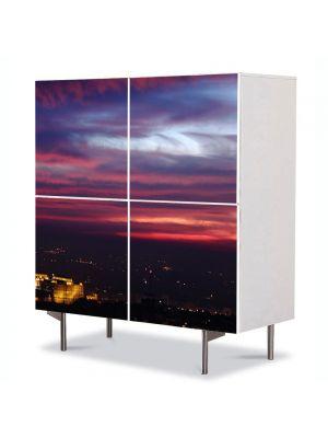 Comoda cu 4 Usi Art Work Urban Orase Pe inserate, 84 x 84 cm
