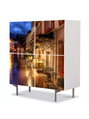 Comoda cu 4 Usi Art Work Urban Orase Muntii Alpi la orizont, 84 x 84 cm