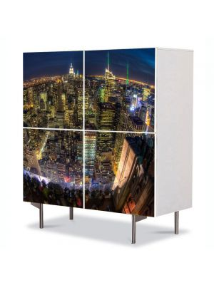 Comoda cu 4 Usi Art Work Urban Orase Privire de ansamblu asupra New York, 84 x 84 cm
