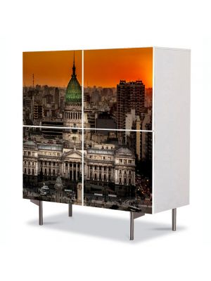 Comoda cu 4 Usi Art Work Urban Orase Palatul Congresului in Buenos Aires Argentina, 84 x 84 cm