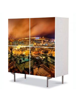 Comoda cu 4 Usi Art Work Urban Orase Noaptea peste oras, 84 x 84 cm