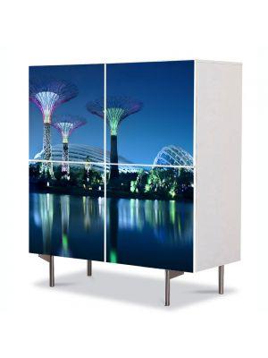 Comoda cu 4 Usi Art Work Urban Orase Gradini suspendate, 84 x 84 cm