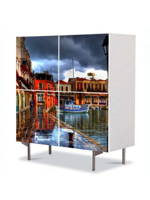 Comoda cu 4 Usi Art Work Urban Orase In port, 84 x 84 cm