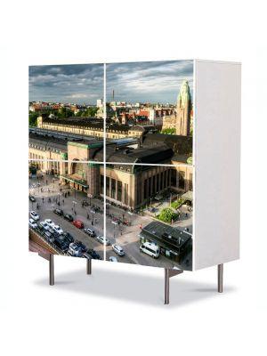 Comoda cu 4 Usi Art Work Urban Orase Gara centrala din Helsinki, 84 x 84 cm