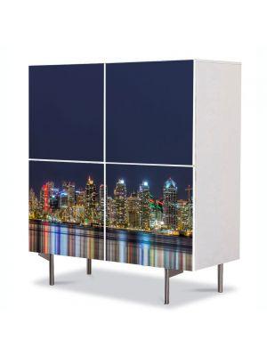 Comoda cu 4 Usi Art Work Urban Orase Orasul oglindit in apa, 84 x 84 cm