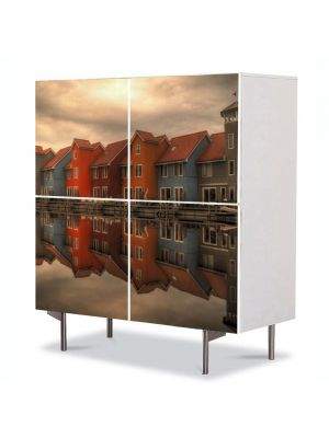 Comoda cu 4 Usi Art Work Urban Orase Case pe lac, 84 x 84 cm