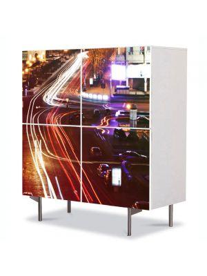 Comoda cu 4 Usi Art Work Urban Orase Intersectie, 84 x 84 cm