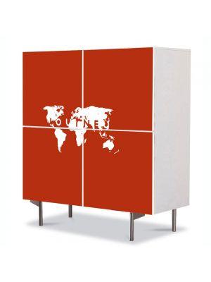 Comoda cu 4 Usi Art Work Urban Orase Calatorie in jurul lumii, 84 x 84 cm