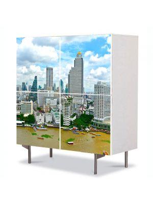 Comoda cu 4 Usi Art Work Urban Orase Bangkok, 84 x 84 cm