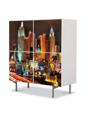 Comoda cu 4 Usi Art Work Urban Orase Las Vegas Nevada SUA, 84 x 84 cm
