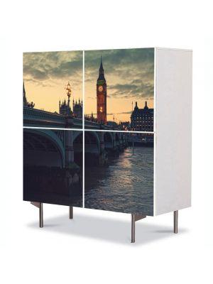 Comoda cu 4 Usi Art Work Urban Orase Londra la Apus, 84 x 84 cm