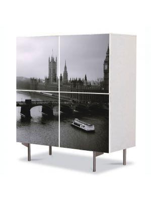 Comoda cu 4 Usi Art Work Urban Orase Londra Alb Negru, 84 x 84 cm
