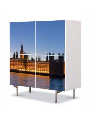 Comoda cu 4 Usi Art Work Urban Orase Parlamentul din Londra, 84 x 84 cm