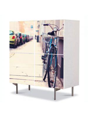 Comoda cu 4 Usi Art Work Urban Orase Cu bicicleta in oras, 84 x 84 cm