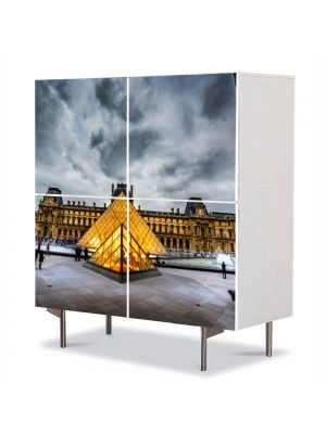 Comoda cu 4 Usi Art Work Urban Orase Muzeul Louvre Paris Franta, 84 x 84 cm