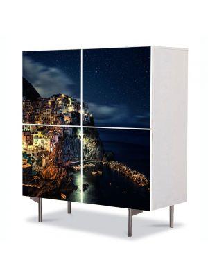 Comoda cu 4 Usi Art Work Urban Orase Manarola Italia, 84 x 84 cm