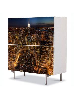 Comoda cu 4 Usi Art Work Urban Orase Viata de noapte in New York, 84 x 84 cm