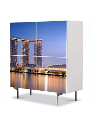 Comoda cu 4 Usi Art Work Urban Orase Port in Singapore, 84 x 84 cm