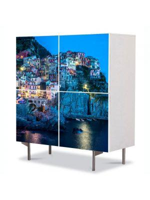 Comoda cu 4 Usi Art Work Urban Orase Oras pe coasta Italiei, 84 x 84 cm