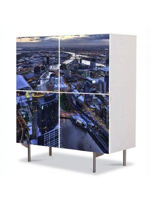 Comoda cu 4 Usi Art Work Urban Orase Melbourne Australia, 84 x 84 cm