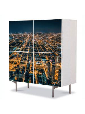 Comoda cu 4 Usi Art Work Urban Orase Metropola in noapte, 84 x 84 cm