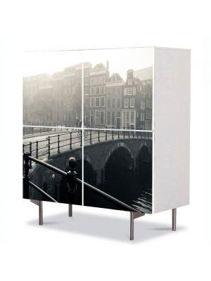 Comoda cu 4 Usi Art Work Urban Orase Amsterdam in ceata, 84 x 84 cm