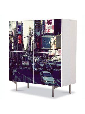 Comoda cu 4 Usi Art Work Urban Orase Trafic in New York, 84 x 84 cm