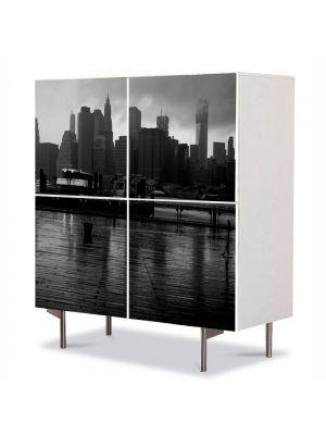 Comoda cu 4 Usi Art Work Urban Orase New York pe apa, 84 x 84 cm