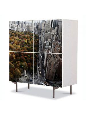 Comoda cu 4 Usi Art Work Urban Orase Toamna in New york, 84 x 84 cm