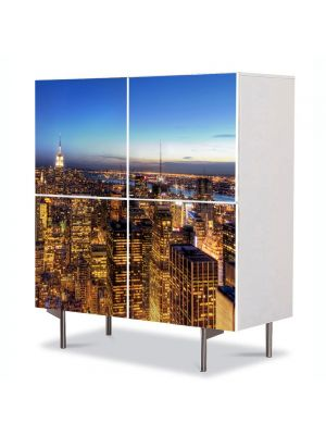 Comoda cu 4 Usi Art Work Urban Orase New York la apus, 84 x 84 cm