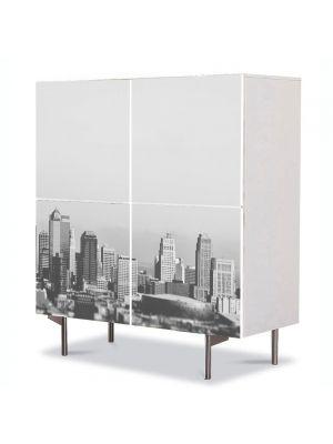 Comoda cu 4 Usi Art Work Urban Orase New York Alb Negru in departare, 84 x 84 cm