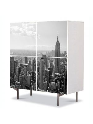 Comoda cu 4 Usi Art Work Urban Orase Orasul New York alb negru, 84 x 84 cm