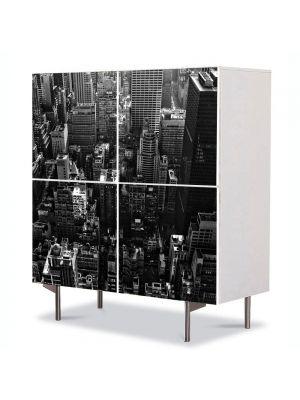 Comoda cu 4 Usi Art Work Urban Orase Panorama New York, 84 x 84 cm