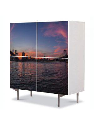 Comoda cu 4 Usi Art Work Urban Orase Poduri in New york la apus, 84 x 84 cm
