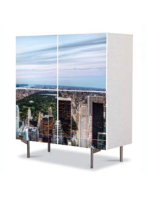 Comoda cu 4 Usi Art Work Urban Orase Central Park New York, 84 x 84 cm