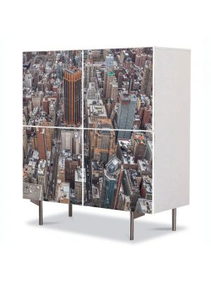 Comoda cu 4 Usi Art Work Urban Orase New York, 84 x 84 cm