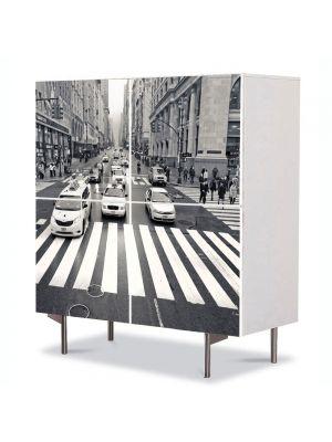 Comoda cu 4 Usi Art Work Urban Orase Trecere de pietoni in New York, 84 x 84 cm