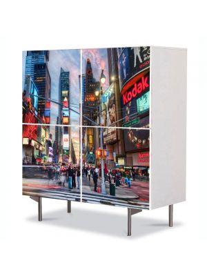 Comoda cu 4 Usi Art Work Urban Orase Calatorind in New York, 84 x 84 cm