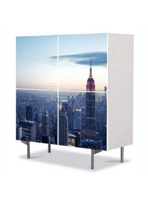 Comoda cu 4 Usi Art Work Urban Orase Apus de iarna in New York, 84 x 84 cm