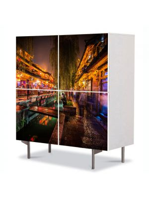 Comoda cu 4 Usi Art Work Urban Orase Noapte in oras, 84 x 84 cm